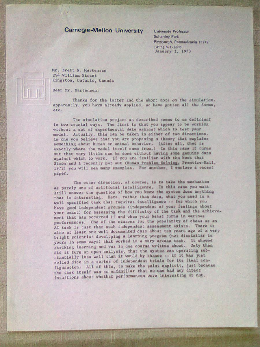 1st page of Allen Newell's letter